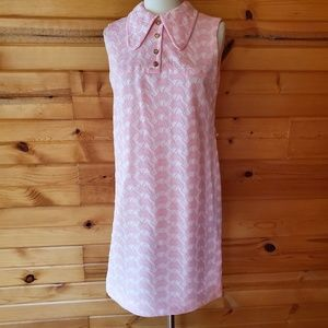 1960s Unlabeled Pale Pink Embroidered Shift Dres